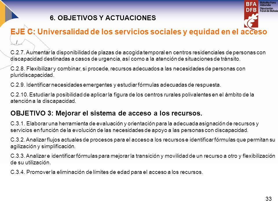 33 EJE C: Universalidad de los servicios sociales y equidad en el acceso …/… C.2.7. Aumentar la disponibilidad de plazas de acogida temporal en centro