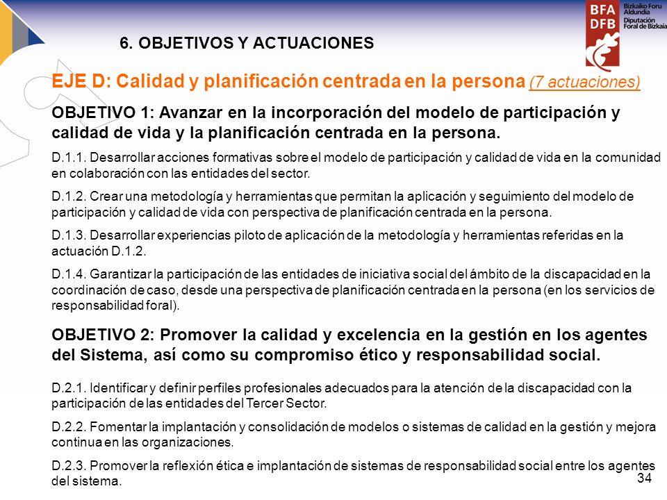 34 EJE D: Calidad y planificación centrada en la persona (7 actuaciones) OBJETIVO 1: Avanzar en la incorporación del modelo de participación y calidad