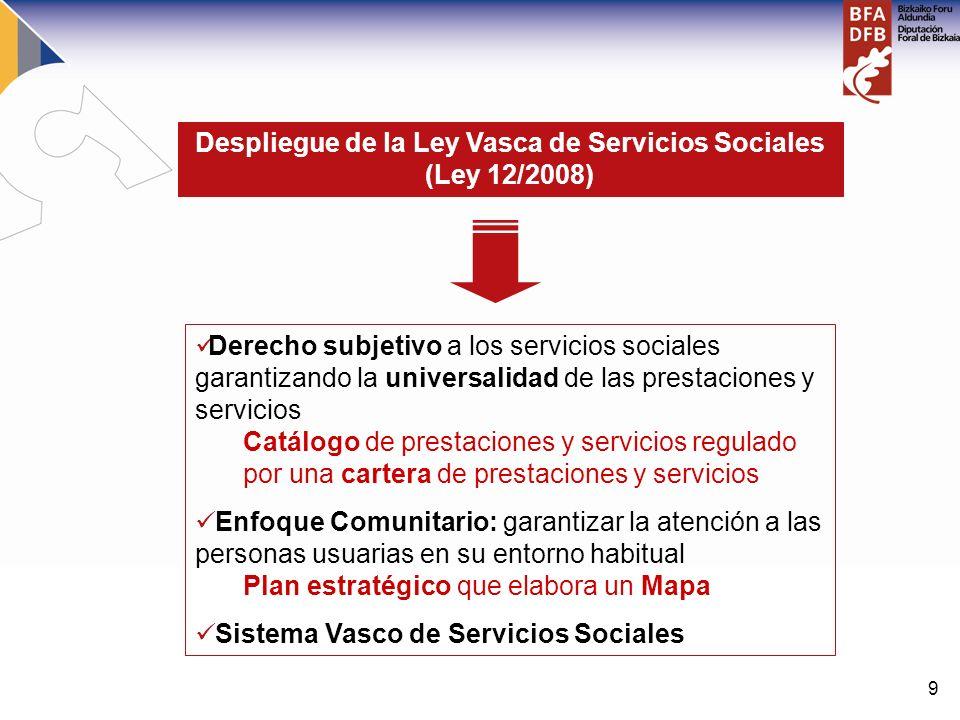 9 Despliegue de la Ley Vasca de Servicios Sociales (Ley 12/2008) Derecho subjetivo a los servicios sociales garantizando la universalidad de las prest