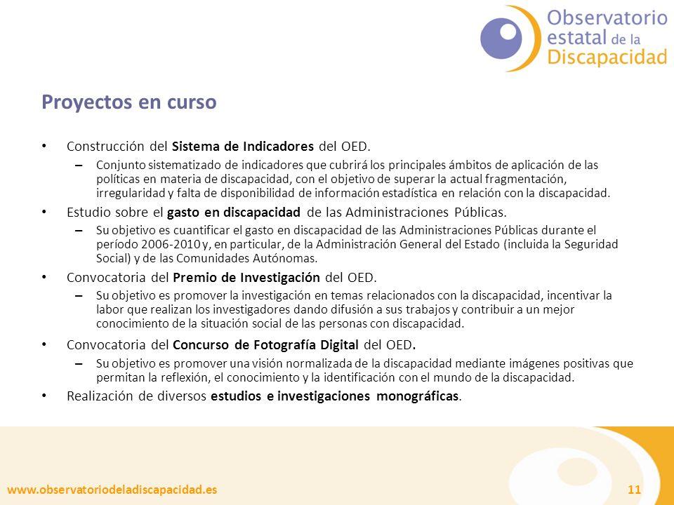 www.observatoriodeladiscapacidad.es 11 Proyectos en curso Construcción del Sistema de Indicadores del OED.