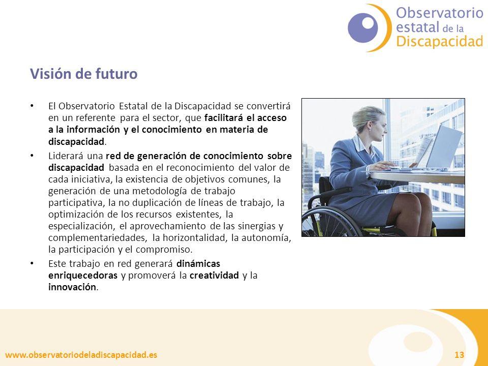 www.observatoriodeladiscapacidad.es 13 Visión de futuro El Observatorio Estatal de la Discapacidad se convertirá en un referente para el sector, que facilitará el acceso a la información y el conocimiento en materia de discapacidad.