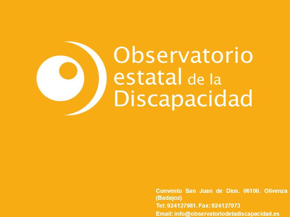 Convento San Juan de Dios. 06100. Olivenza (Badajoz) Tel: 924127981. Fax: 924127973 Email: info@observatoriodeladiscapacidad.es