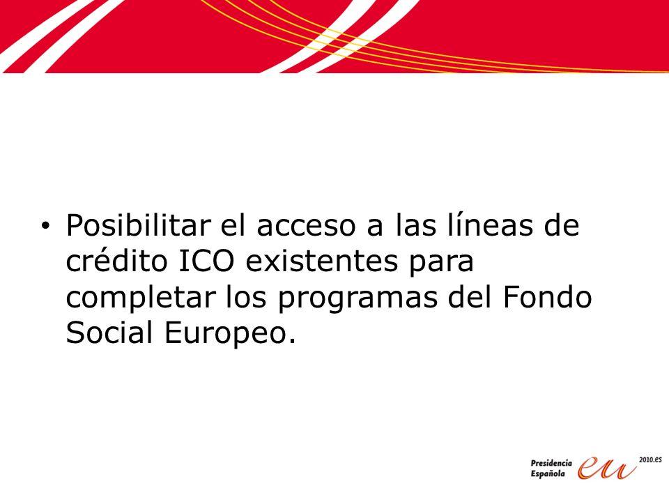 Posibilitar el acceso a las líneas de crédito ICO existentes para completar los programas del Fondo Social Europeo.