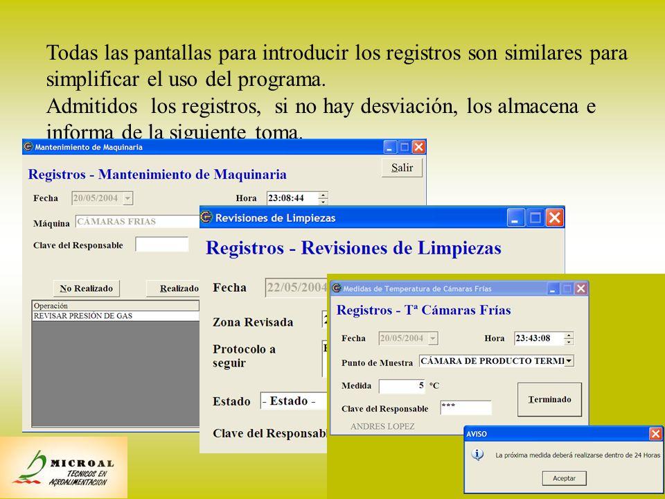 13 Entrada normal de registros Todas las pantallas para introducir los registros son similares para simplificar el uso del programa. Admitidos los reg