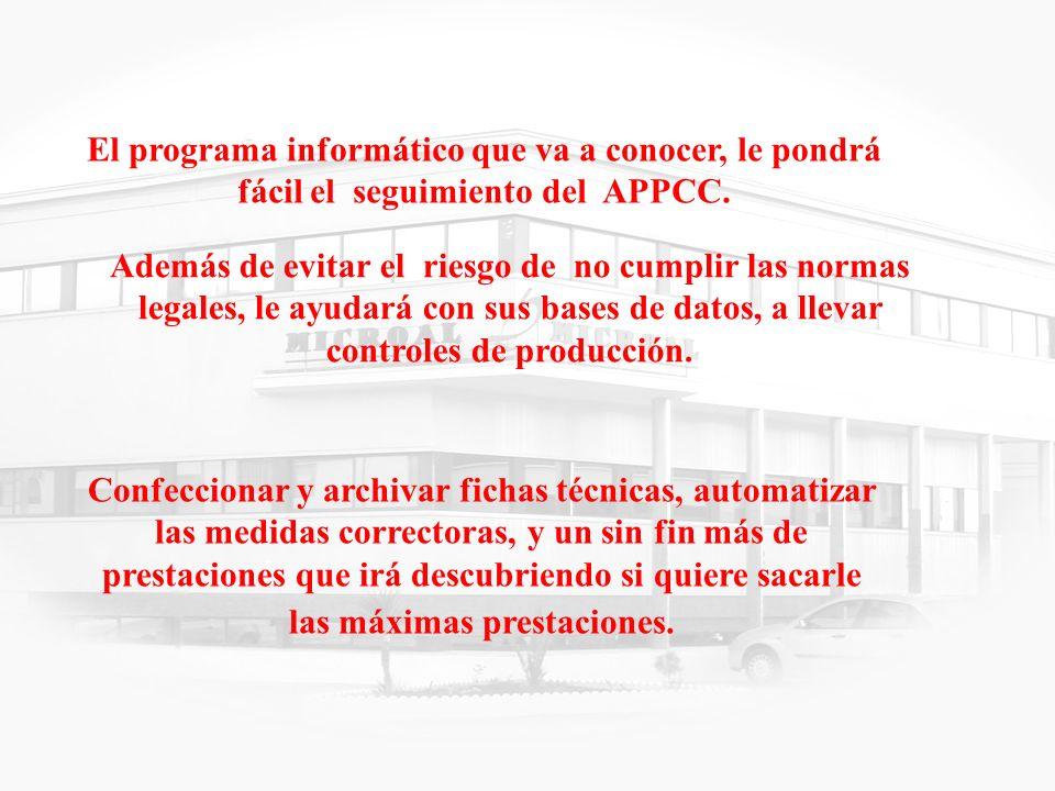 4 El programa informático que va a conocer, le pondrá fácil el seguimiento del APPCC. Además de evitar el riesgo de no cumplir las normas legales, le