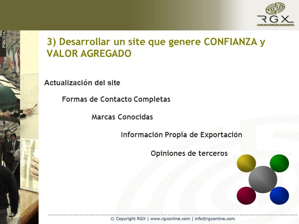3) Desarrollar un site que genere CONFIANZA y VALOR AGREGADO Actualización del site Marcas Conocidas Información Propia de Exportación Opiniones de terceros Formas de Contacto Completas