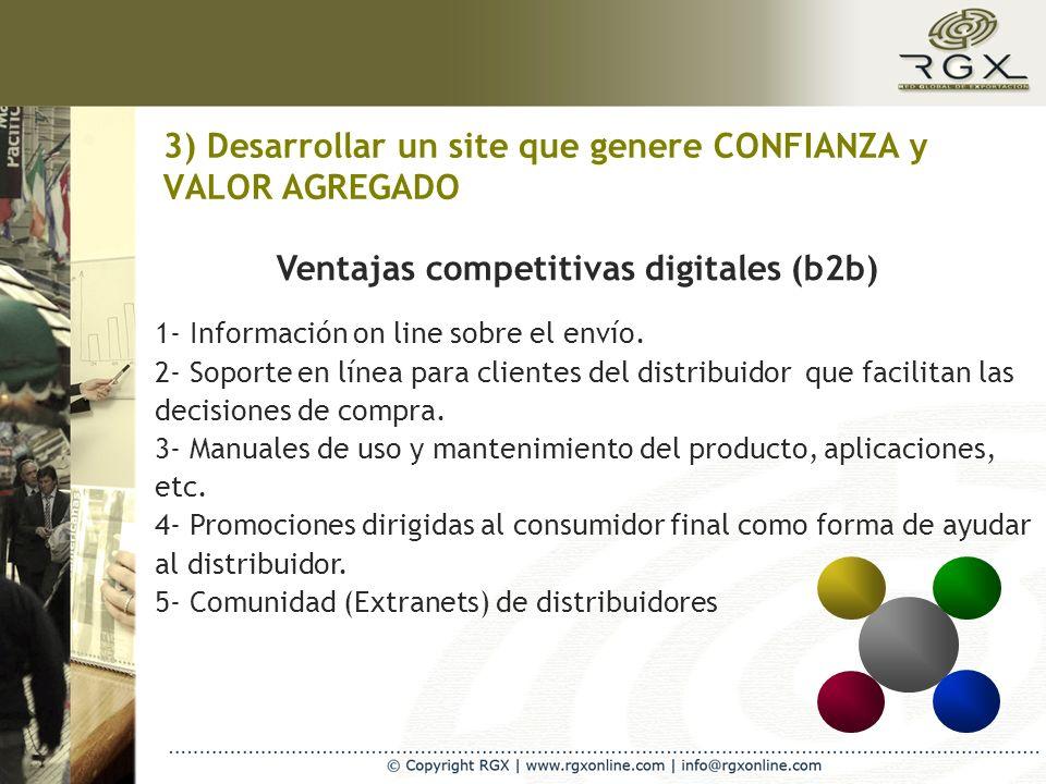 3) Desarrollar un site que genere CONFIANZA y VALOR AGREGADO Ventajas competitivas digitales (b2b) 1- Información on line sobre el envío. 2- Soporte e