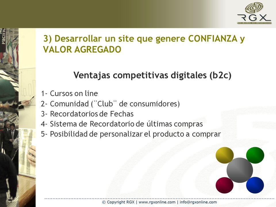 3) Desarrollar un site que genere CONFIANZA y VALOR AGREGADO Ventajas competitivas digitales (b2c) 1- Cursos on line 2- Comunidad (¨Club¨ de consumido