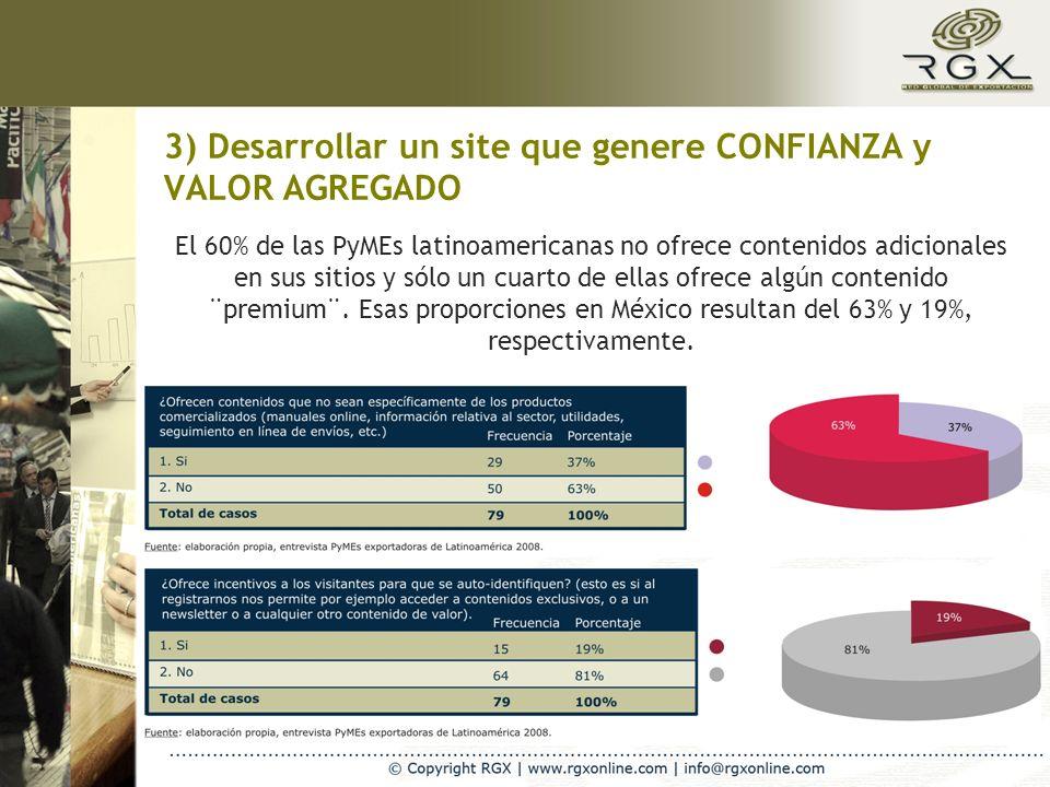 3) Desarrollar un site que genere CONFIANZA y VALOR AGREGADO El 60% de las PyMEs latinoamericanas no ofrece contenidos adicionales en sus sitios y sólo un cuarto de ellas ofrece algún contenido ¨premium¨.