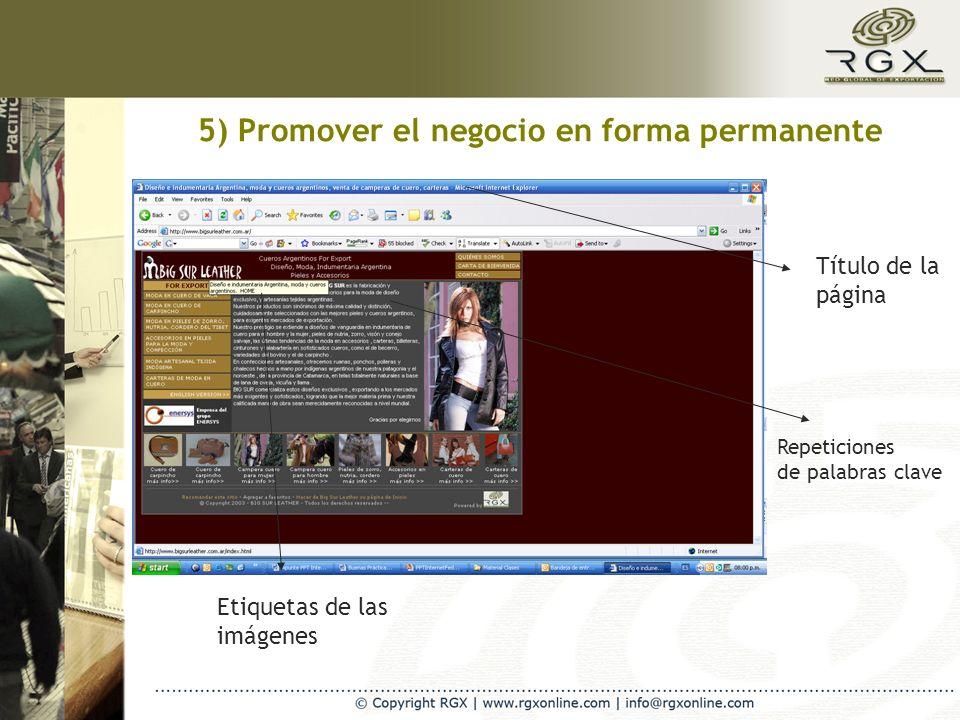 5) Promover el negocio en forma permanente Título de la página Etiquetas de las imágenes Repeticiones de palabras clave