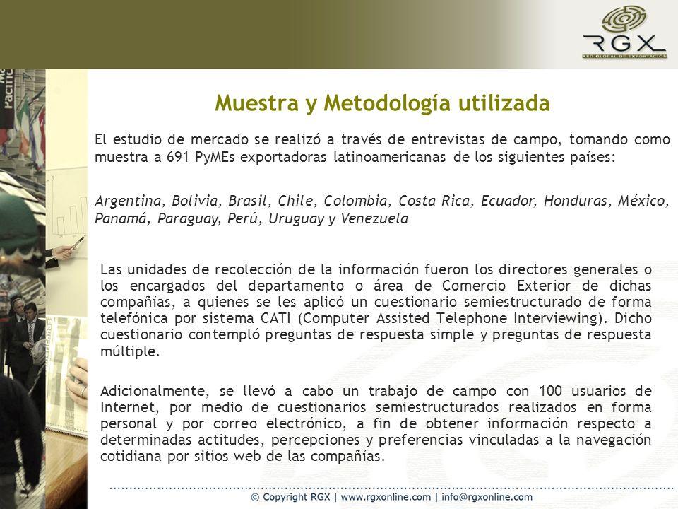 Muestra y Metodología utilizada Las unidades de recolección de la información fueron los directores generales o los encargados del departamento o área