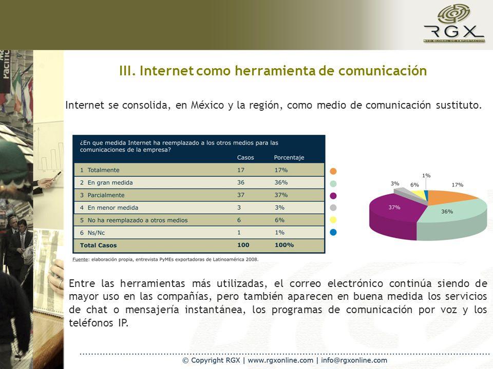 III. Internet como herramienta de comunicación Internet se consolida, en México y la región, como medio de comunicación sustituto. Entre las herramien