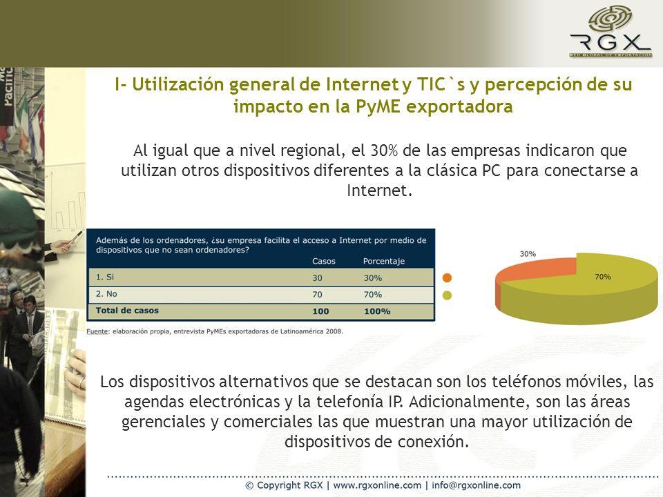 I- Utilización general de Internet y TIC`s y percepción de su impacto en la PyME exportadora Al igual que a nivel regional, el 30% de las empresas indicaron que utilizan otros dispositivos diferentes a la clásica PC para conectarse a Internet.