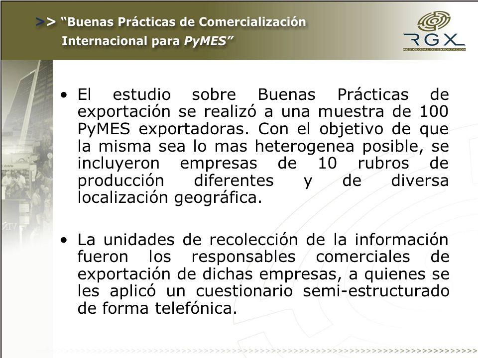 El estudio sobre Buenas Prácticas de exportación se realizó a una muestra de 100 PyMES exportadoras.