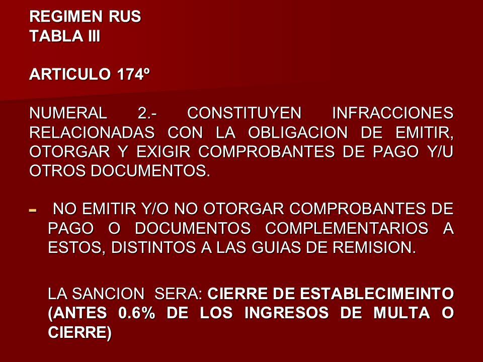 REGIMEN RUS TABLA III ARTICULO 174º NUMERAL 2.- CONSTITUYEN INFRACCIONES RELACIONADAS CON LA OBLIGACION DE EMITIR, OTORGAR Y EXIGIR COMPROBANTES DE PA