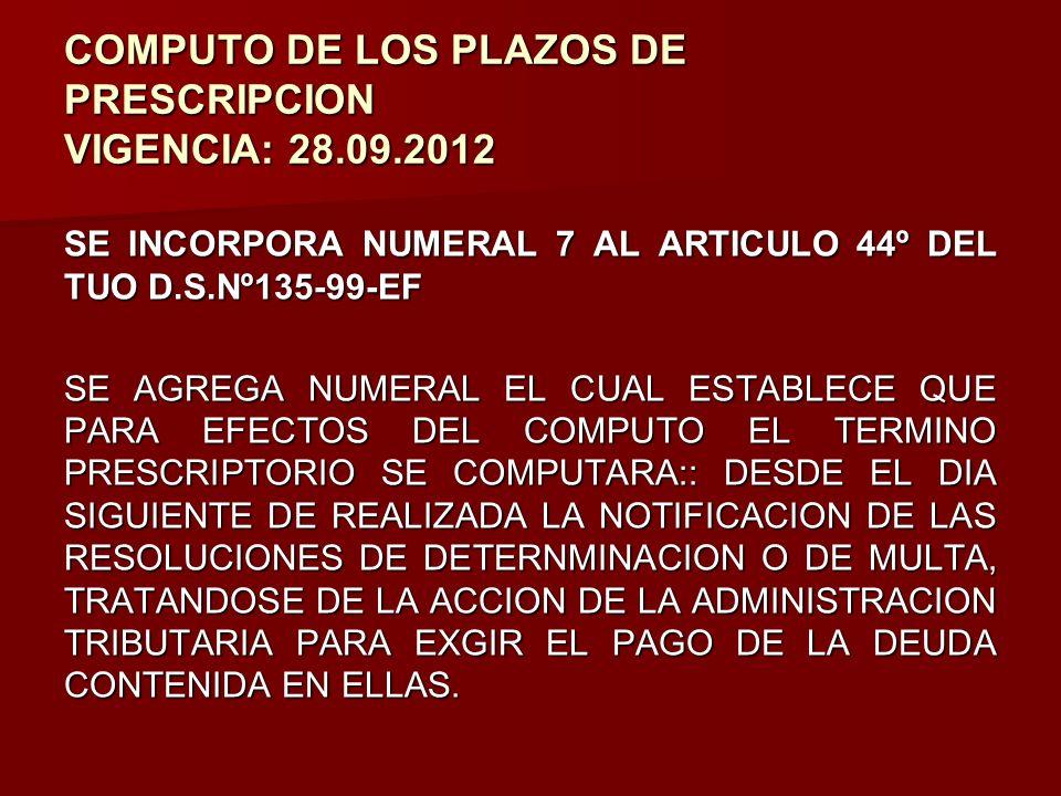 COMPUTO DE LOS PLAZOS DE PRESCRIPCION VIGENCIA: 28.09.2012 SE INCORPORA NUMERAL 7 AL ARTICULO 44º DEL TUO D.S.Nº135-99-EF SE AGREGA NUMERAL EL CUAL ES