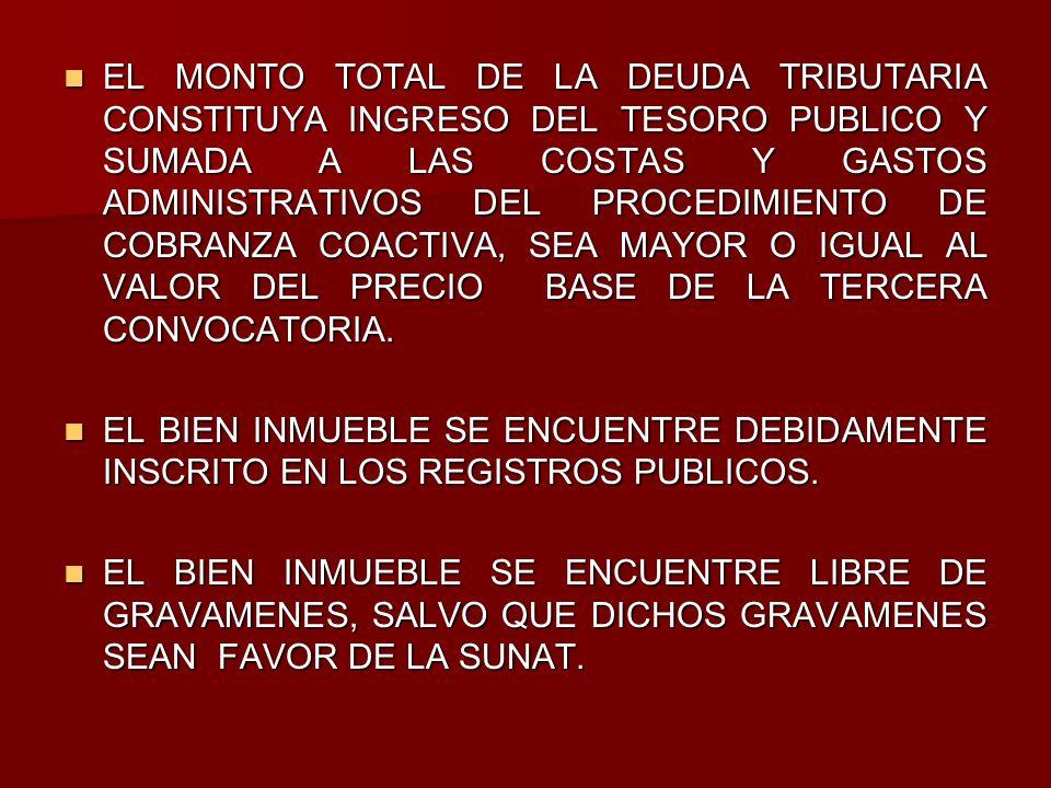 EL MONTO TOTAL DE LA DEUDA TRIBUTARIA CONSTITUYA INGRESO DEL TESORO PUBLICO Y SUMADA A LAS COSTAS Y GASTOS ADMINISTRATIVOS DEL PROCEDIMIENTO DE COBRAN