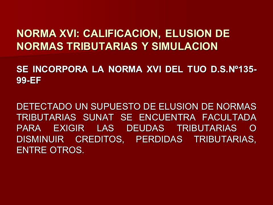 NORMA XVI: CALIFICACION, ELUSION DE NORMAS TRIBUTARIAS Y SIMULACION SE INCORPORA LA NORMA XVI DEL TUO D.S.Nº135- 99-EF DETECTADO UN SUPUESTO DE ELUSIO