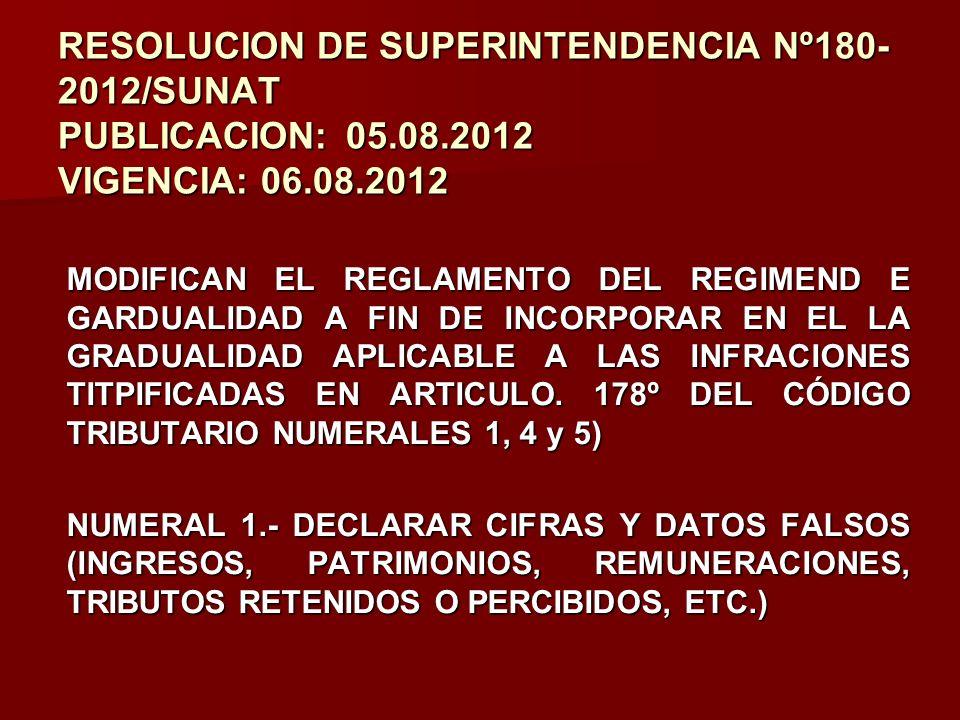 RESOLUCION DE SUPERINTENDENCIA Nº180- 2012/SUNAT PUBLICACION:05.08.2012 VIGENCIA: 06.08.2012 MODIFICAN EL REGLAMENTO DEL REGIMEND E GARDUALIDAD A FIN