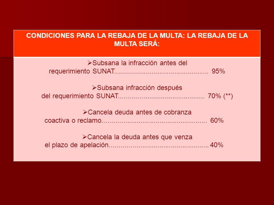 CONDICIONES PARA LA REBAJA DE LA MULTA: LA REBAJA DE LA MULTA SERÁ: Subsana la infracción antes del requerimiento SUNAT...............................