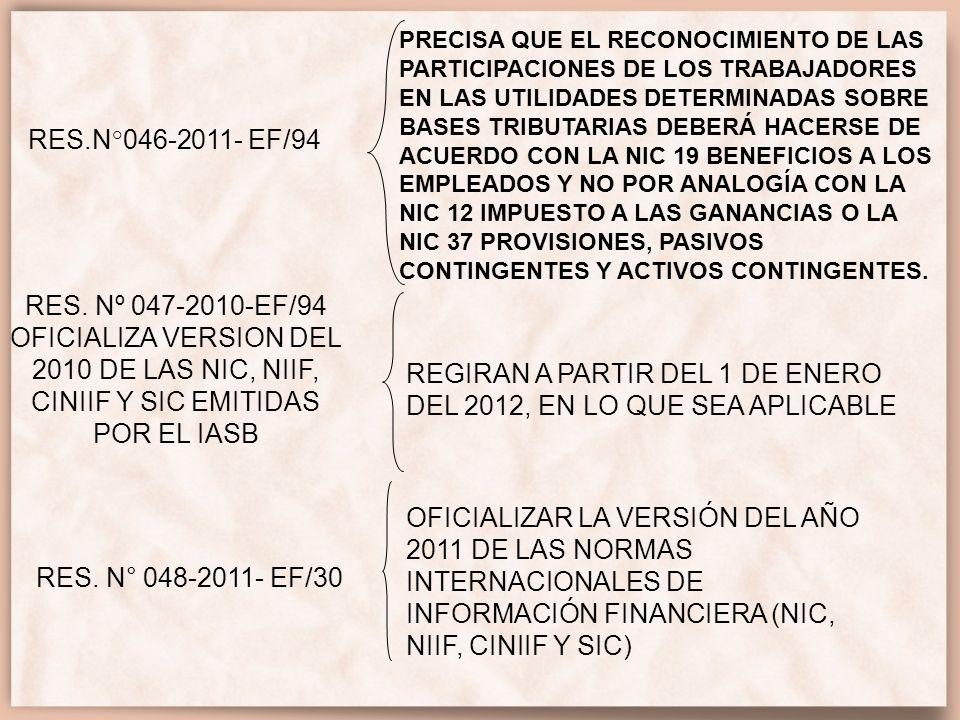 RES.N°050-2012 EF/30 PRECISAR QUE SE MANTIENE EN VIGENCIA LA APLICACIÓN DEL MÉTODO DE PARTICIPACIÓN COMO MÉTODO ADICIONAL A LO ESTABLECIDO EN LA NIC 27 ESTADOS FINANCIEROS CONSOLIDADOS Y SEPARADOS, NIC 28 INVERSIONES EN ASOCIADAS Y NIC 31 PARTICIPACIONES EN NEGOCIOS CONJUNTOS APROBADAS POR LA RESOLUCIÓN DE CONSEJO NORMATIVO N° 047-2011-EF/ 30, PARA LA VALUACIÓN DE LAS INVERSIONES EN ACCIONES Y PARTICIPACIONES REPRESENTATIVAS DEL VALOR RESIDUAL DE OTRAS ENTIDADES, CUANDO SE PRESENTEN ESTADOS FINANCIEROS SEPARADOS QUE CONTENGAN INVERSIONES EN SUBSIDIARIAS, ASOCIADAS Y NEGOCIOS CONJUNTOS.