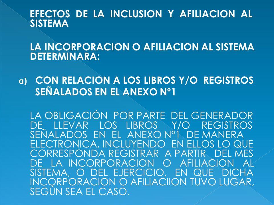 EFECTOS DE LA INCLUSION Y AFILIACION AL SISTEMA LA INCORPORACION O AFILIACION AL SISTEMA DETERMINARA: a) CON RELACION A LOS LIBROS Y/O REGISTROS SEÑAL