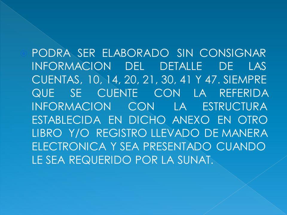 PODRA SER ELABORADO SIN CONSIGNAR INFORMACION DEL DETALLE DE LAS CUENTAS, 10, 14, 20, 21, 30, 41 Y 47. SIEMPRE QUE SE CUENTE CON LA REFERIDA INFORMACI
