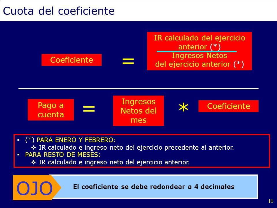 11 Cuota del coeficiente IR calculado del ejercicio anterior (*) Ingresos Netos del ejercicio anterior (*) El coeficiente se debe redondear a 4 decima