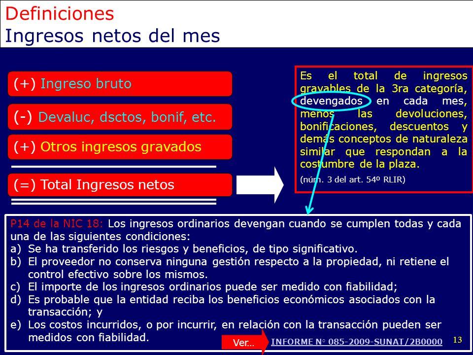 13 (+) Ingreso bruto (-) Devaluc, dsctos, bonif, etc. (+) Otros ingresos gravados (=) Total Ingresos netos Es el total de ingresos gravables de la 3ra