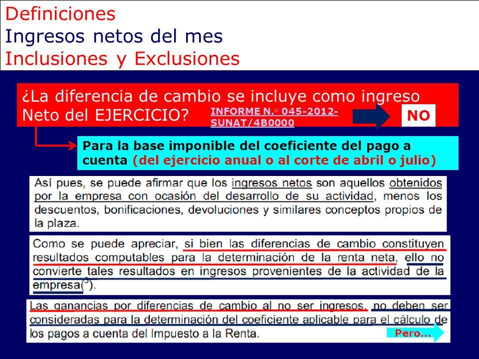 Definiciones Ingresos netos del mes Inclusiones y Exclusiones ¿La diferencia de cambio se incluye como ingreso Neto del EJERCICIO? Para la base imponi
