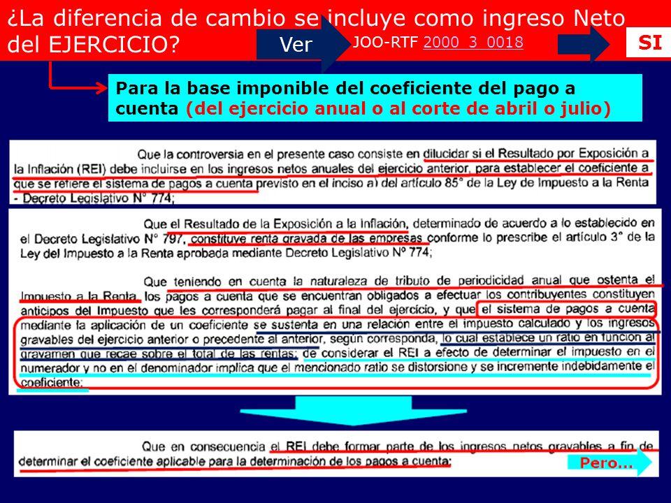 ¿La diferencia de cambio se incluye como ingreso Neto del EJERCICIO? Ver JOO-RTF 2000_3_0018 2000_3_0018 SI Para la base imponible del coeficiente del