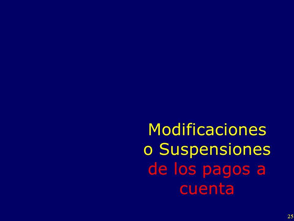 25 Modificaciones o Suspensiones de los pagos a cuenta