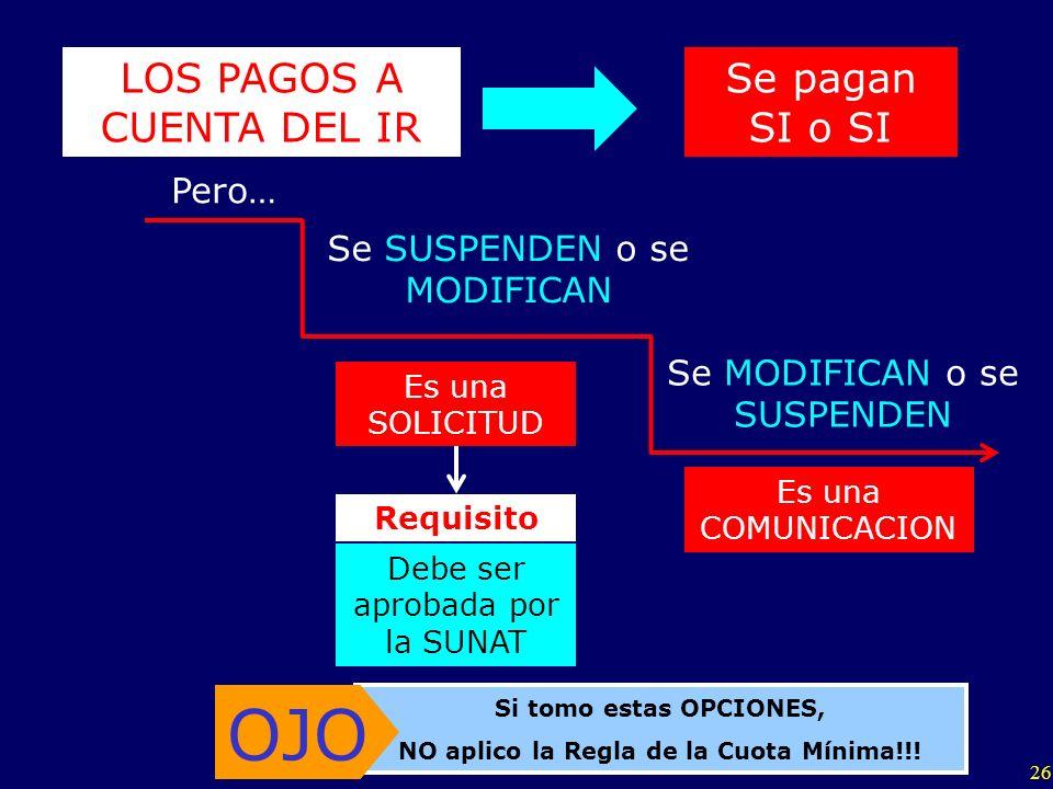 26 LOS PAGOS A CUENTA DEL IR Pero… Se MODIFICAN o se SUSPENDEN Se SUSPENDEN o se MODIFICAN Es una SOLICITUD Es una COMUNICACION Requisito Debe ser apr