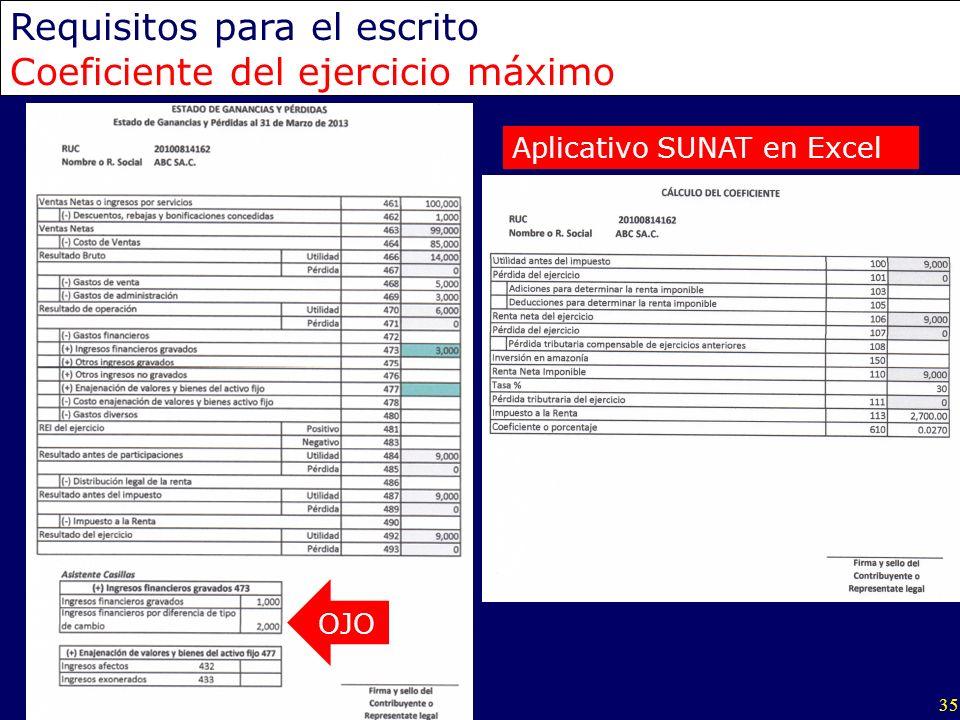 35 Requisitos para el escrito Coeficiente del ejercicio máximo OJO Aplicativo SUNAT en Excel