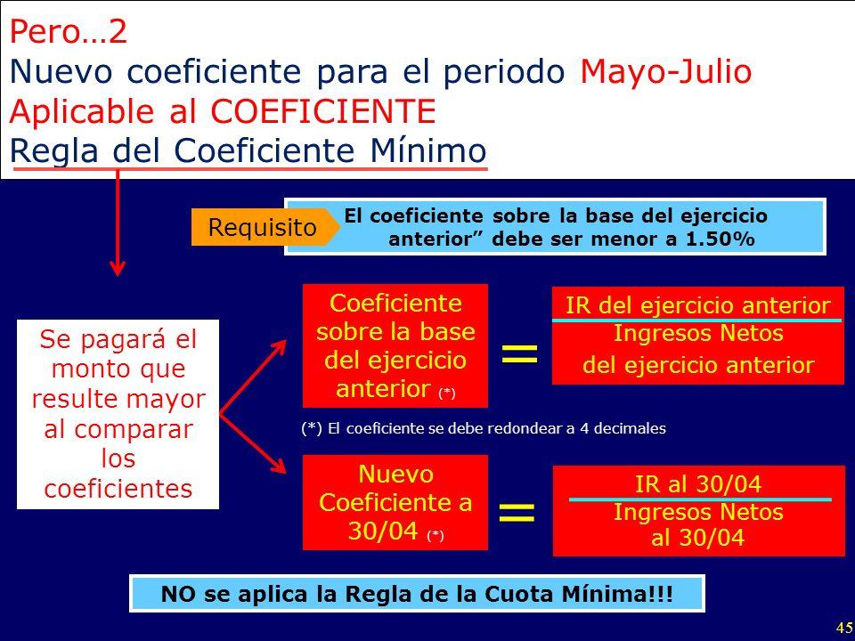 45 Pero…2 Nuevo coeficiente para el periodo Mayo-Julio Aplicable al COEFICIENTE Regla del Coeficiente Mínimo IR al 30/04 Ingresos Netos al 30/04 Nuevo