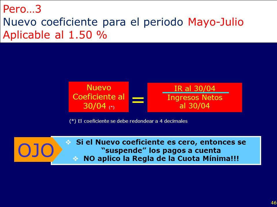 46 IR al 30/04 Ingresos Netos al 30/04 Nuevo Coeficiente al 30/04 (*) = Pero…3 Nuevo coeficiente para el periodo Mayo-Julio Aplicable al 1.50 % Si el
