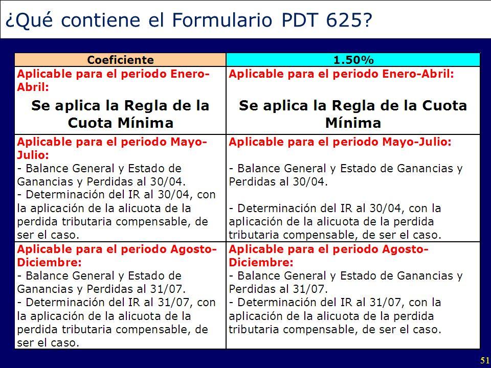 51 ¿Qué contiene el Formulario PDT 625?