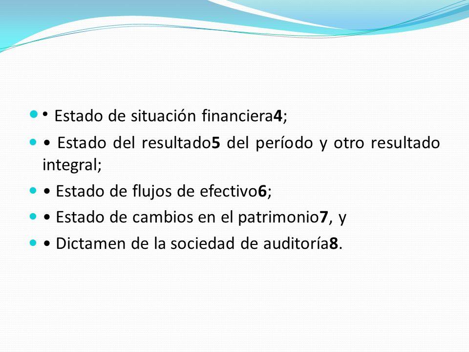 Estado de situación financiera4; Estado del resultado5 del período y otro resultado integral; Estado de flujos de efectivo6; Estado de cambios en el patrimonio7, y Dictamen de la sociedad de auditoría8.