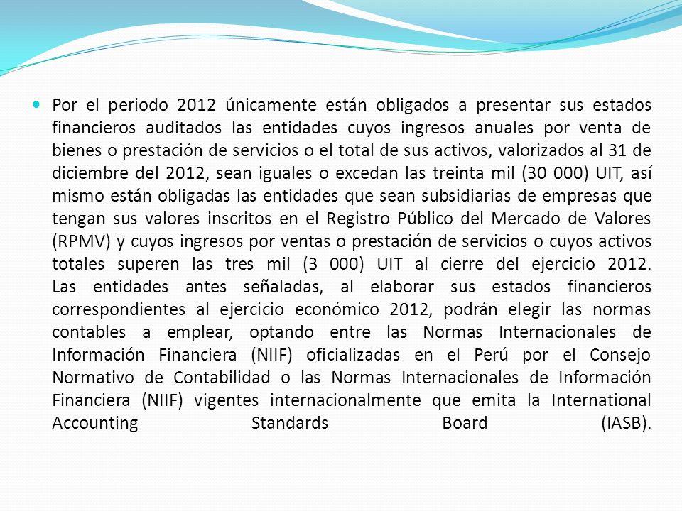 La información financiera correspondiente al ejercicio que culmina el 31 de diciembre de 2012 debe incluir la información comparativa del ejercicio 2011.