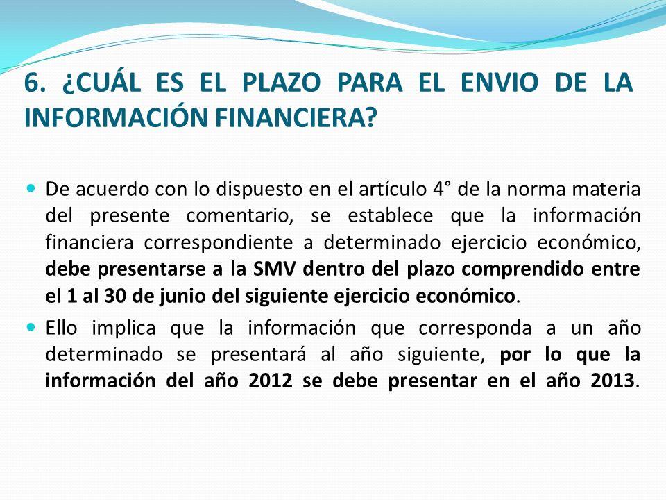 6.¿CUÁL ES EL PLAZO PARA EL ENVIO DE LA INFORMACIÓN FINANCIERA.