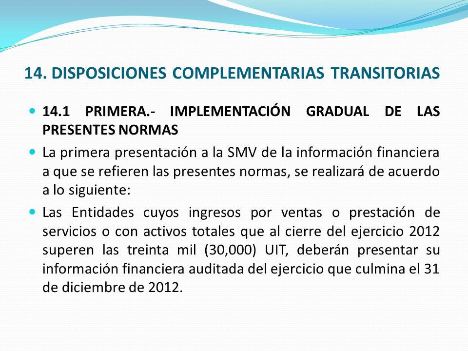 14. DISPOSICIONES COMPLEMENTARIAS TRANSITORIAS 14.1 PRIMERA.- IMPLEMENTACIÓN GRADUAL DE LAS PRESENTES NORMAS La primera presentación a la SMV de la in
