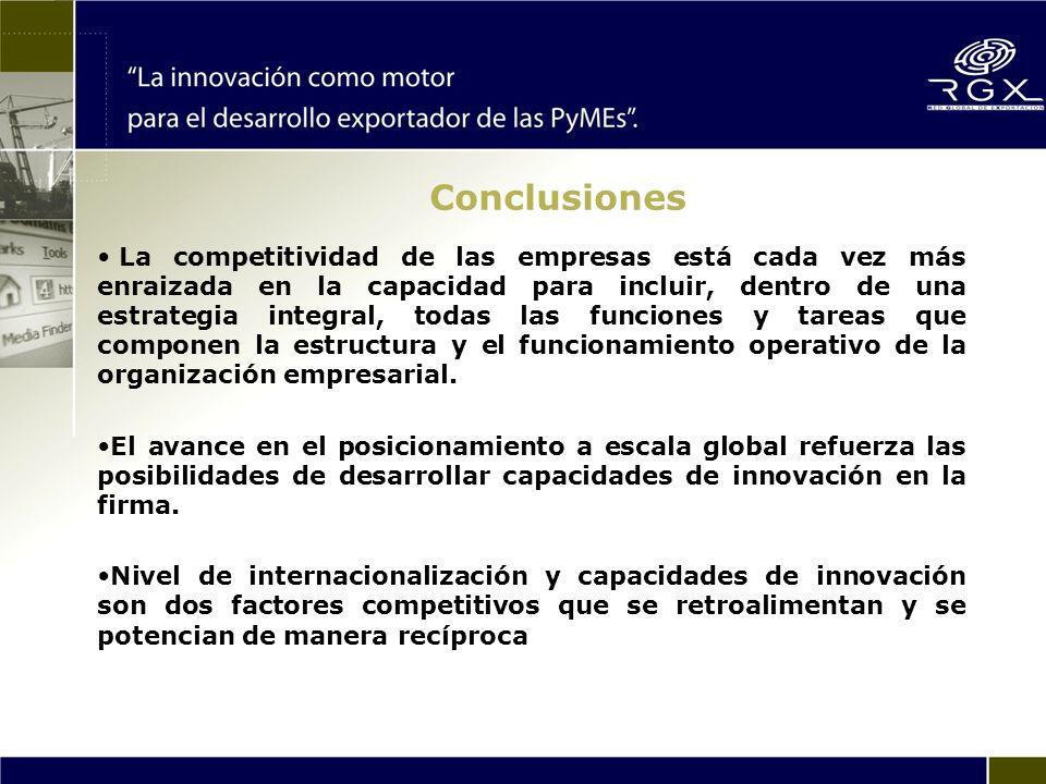 Conclusiones La competitividad de las empresas está cada vez más enraizada en la capacidad para incluir, dentro de una estrategia integral, todas las funciones y tareas que componen la estructura y el funcionamiento operativo de la organización empresarial.