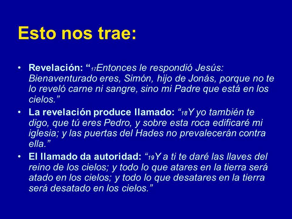 Esto nos trae: Revelación: 17 Entonces le respondió Jesús: Bienaventurado eres, Simón, hijo de Jonás, porque no te lo reveló carne ni sangre, sino mi Padre que está en los cielos.