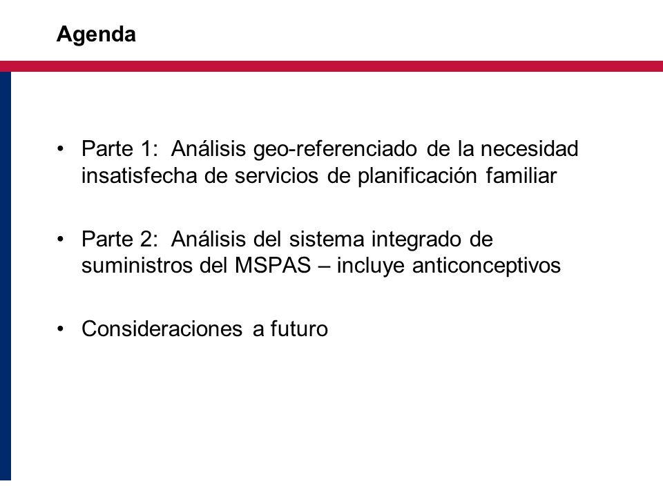 Agenda Parte 1: Análisis geo-referenciado de la necesidad insatisfecha de servicios de planificación familiar Parte 2: Análisis del sistema integrado