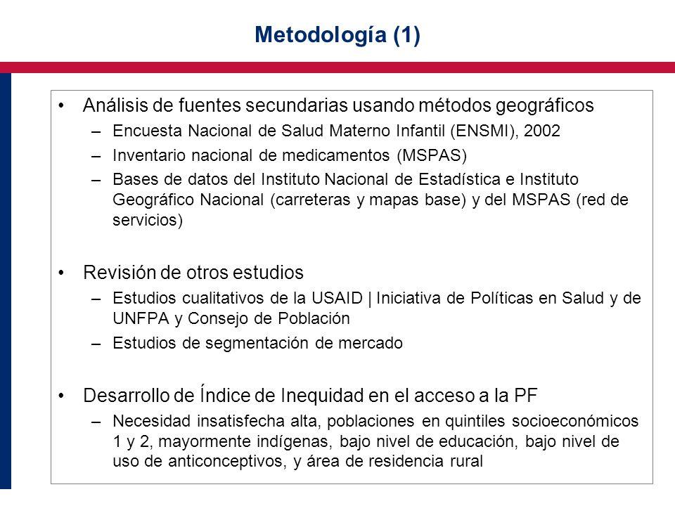 Metodología (1) Análisis de fuentes secundarias usando métodos geográficos –Encuesta Nacional de Salud Materno Infantil (ENSMI), 2002 –Inventario naci