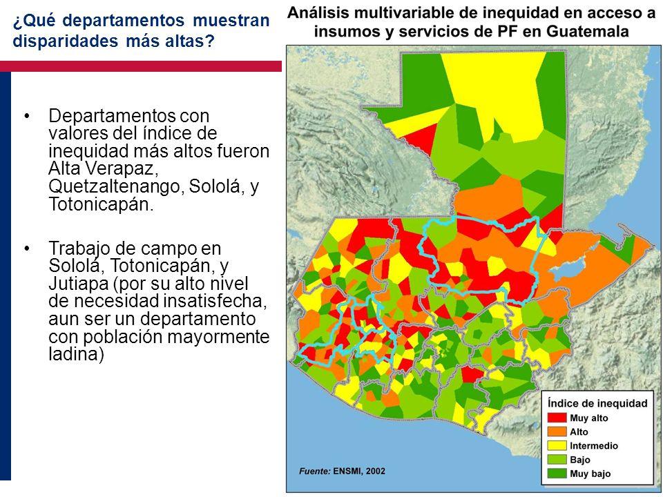 ¿Qué departamentos muestran disparidades más altas? Departamentos con valores del índice de inequidad más altos fueron Alta Verapaz, Quetzaltenango, S