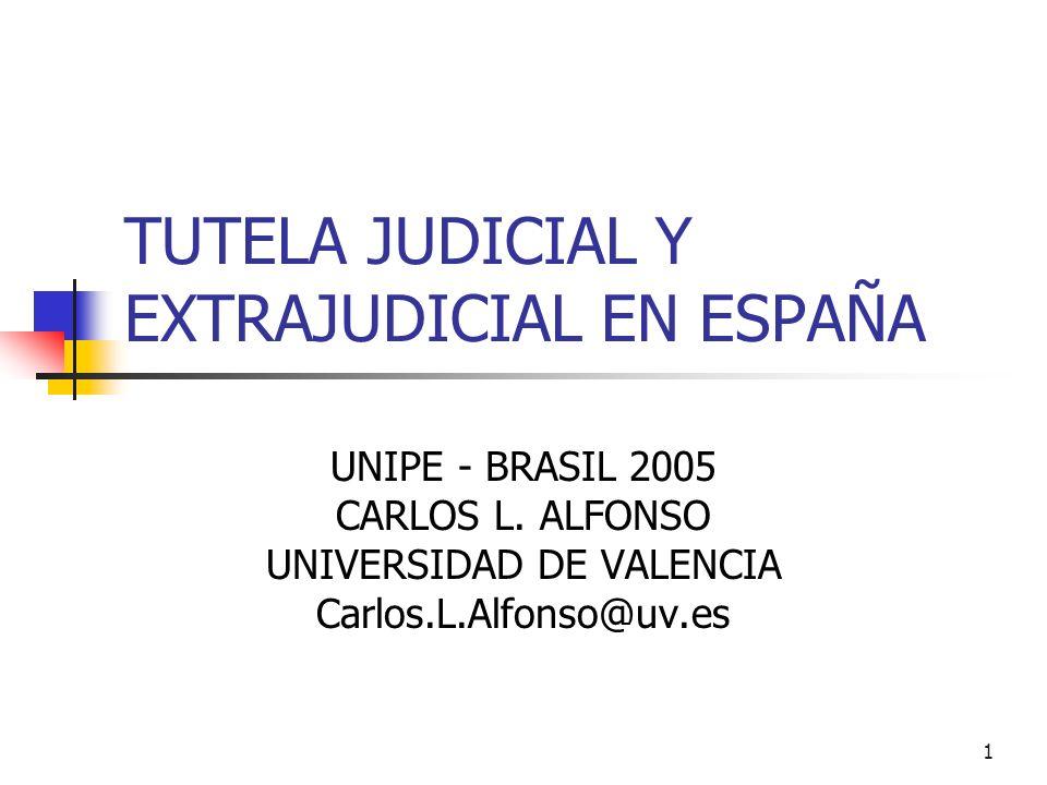 1 TUTELA JUDICIAL Y EXTRAJUDICIAL EN ESPAÑA UNIPE - BRASIL 2005 CARLOS L. ALFONSO UNIVERSIDAD DE VALENCIA Carlos.L.Alfonso@uv.es