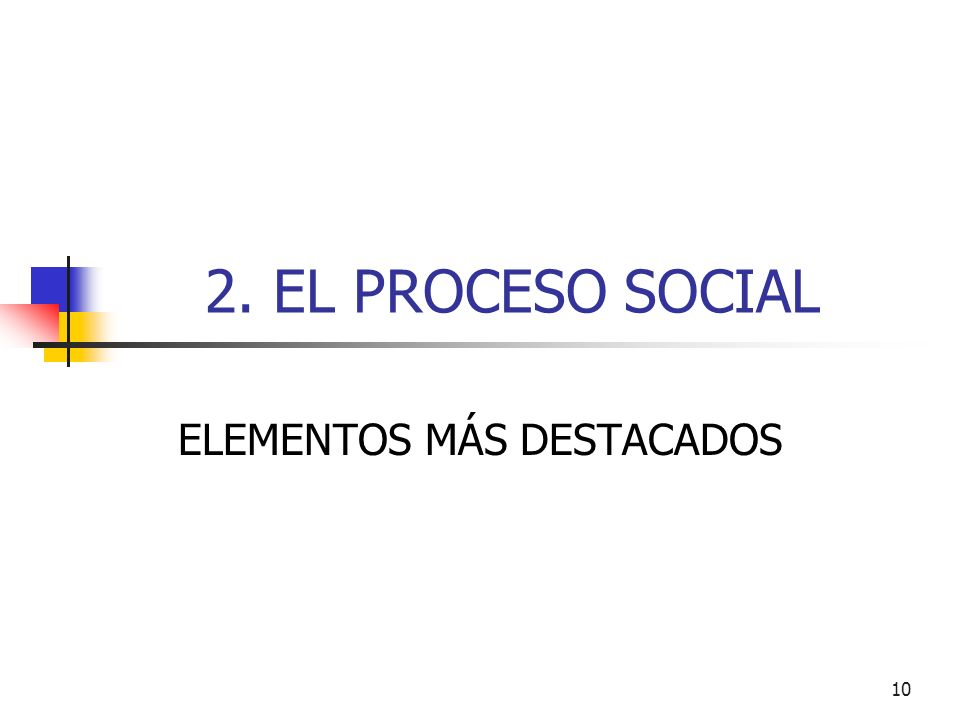 10 2. EL PROCESO SOCIAL ELEMENTOS MÁS DESTACADOS