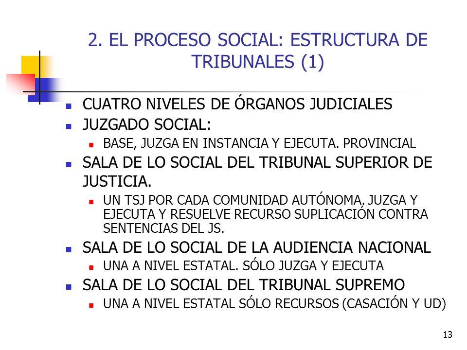 13 2. EL PROCESO SOCIAL: ESTRUCTURA DE TRIBUNALES (1) CUATRO NIVELES DE ÓRGANOS JUDICIALES JUZGADO SOCIAL: BASE, JUZGA EN INSTANCIA Y EJECUTA. PROVINC