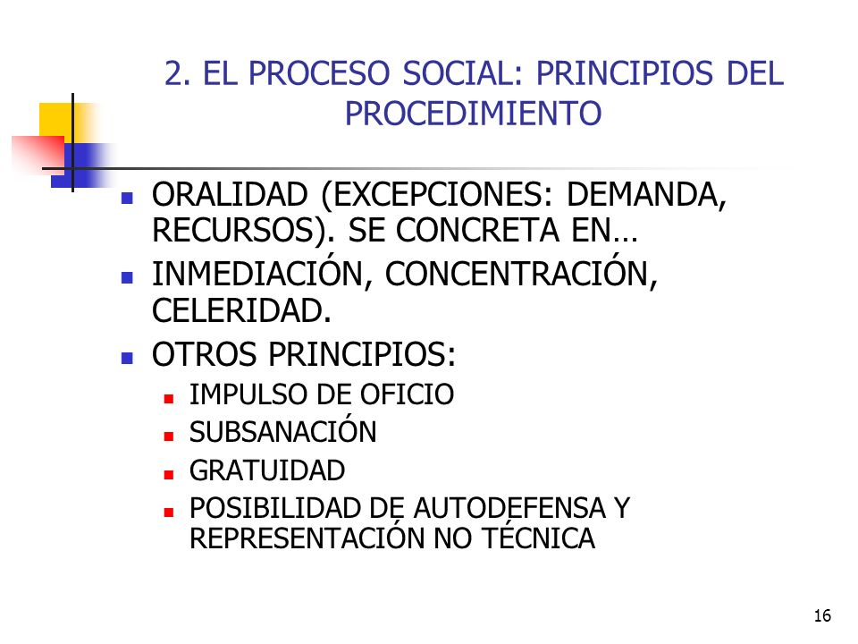 16 2. EL PROCESO SOCIAL: PRINCIPIOS DEL PROCEDIMIENTO ORALIDAD (EXCEPCIONES: DEMANDA, RECURSOS). SE CONCRETA EN… INMEDIACIÓN, CONCENTRACIÓN, CELERIDAD